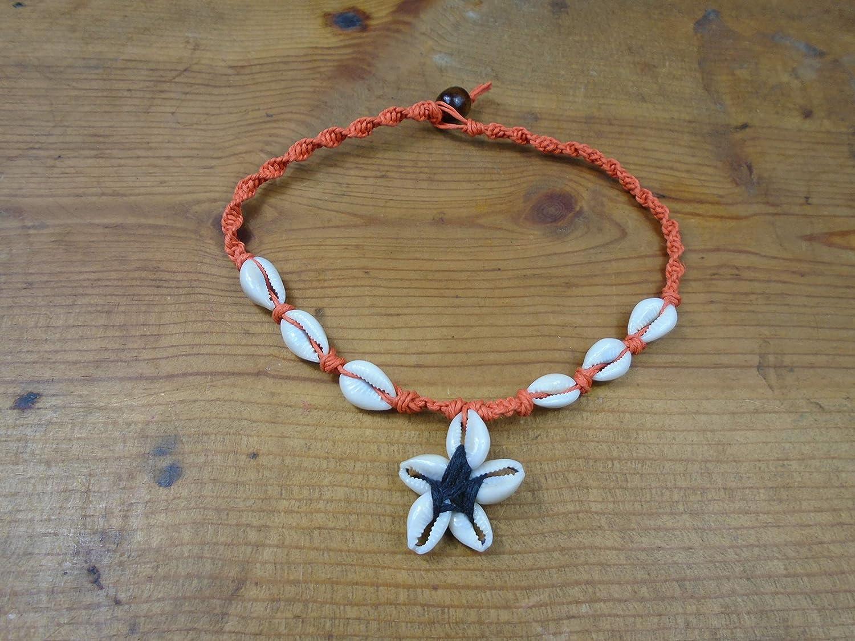 Hemp Jewelry Hemp Necklace Starfish Pendant Custom Hemp Necklace with Pink Sea Glass Starfish Pendant and Cowrie Shells Beach Jewelry
