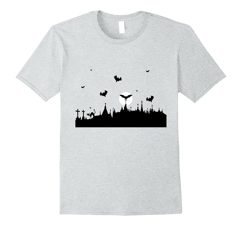Halloween Dark Spooky Graveyard City Holiday Tshirt-FL