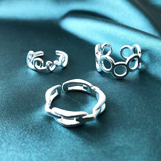 PANTIDE/14Pcs/Adjustable Open Rings Set for Women Arrow Knot Wave Rings Knuckle Stackable Thumb Open Rings for Teen Girls Simple Finger Rings Hypoallergenic VSCO Jewelry Gifts with Velvet Storage Bag