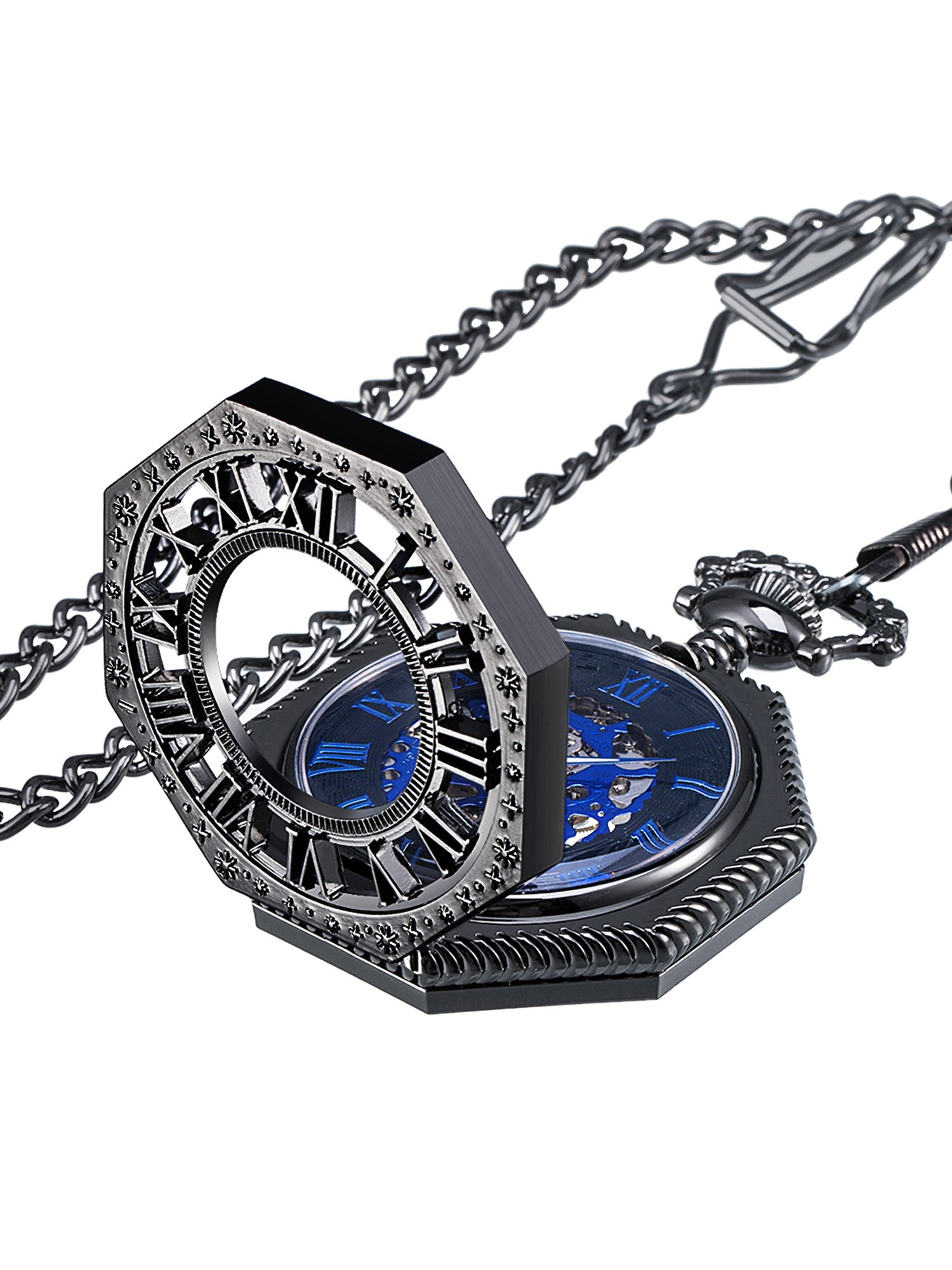 Mudder Vintage Mechanical Hand-Wind Skeleton Pocket Watch with Chain Xmas Gift (Black)