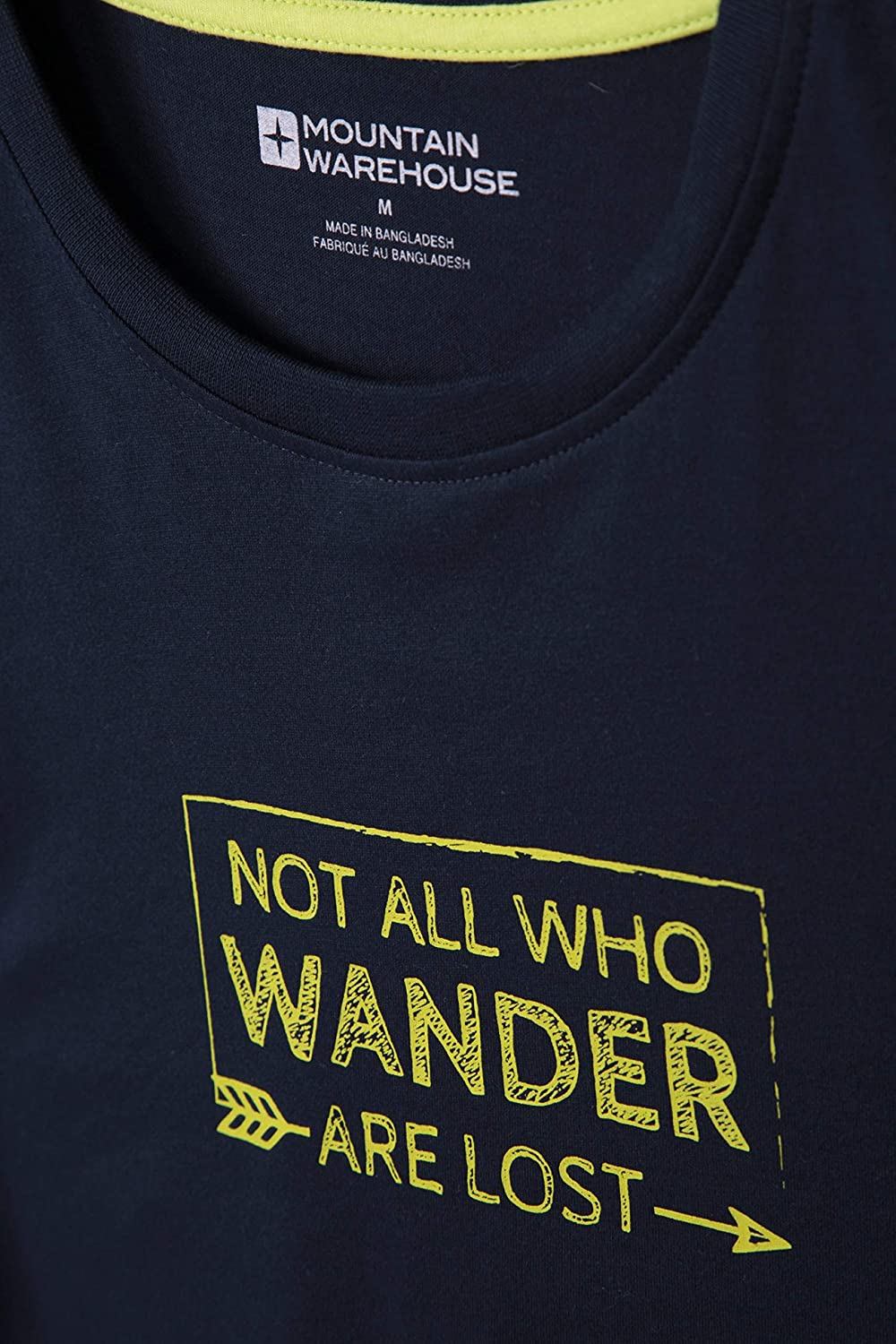 Mountain Warehouse Not All Who Wander Ii Mens Tee for Hiking Travelling Quality Funny Print Tee Shirt Easy Care Lightweight Spring T-Shirt Breathable
