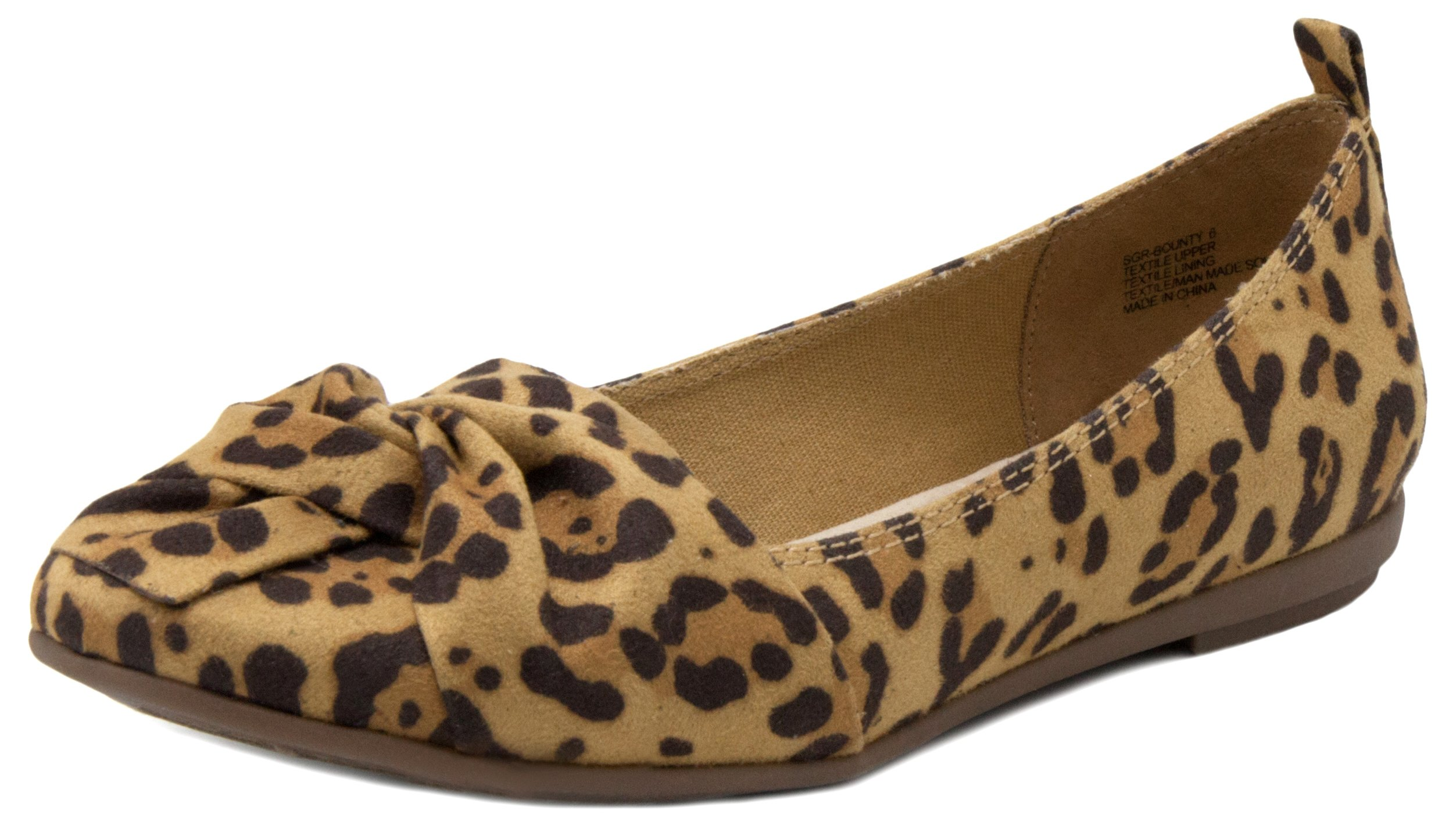 Sugar Women's Bounty Slip On Flat Shoe with Ribbon Detail 6.5 Leopard Fabric