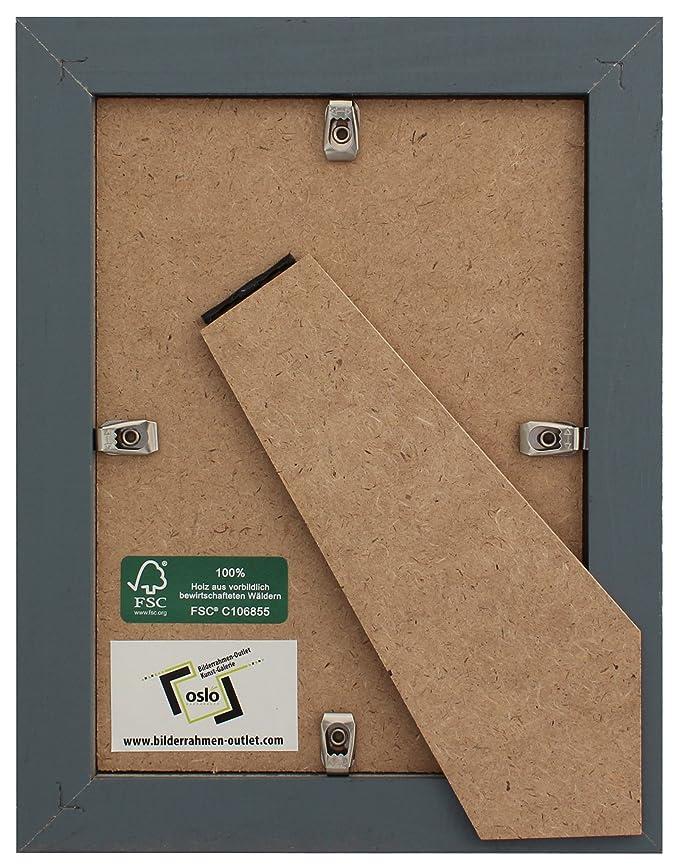 OSLO MasterLine Bilderrahmen 15x20 silber massiv Holz mit ...