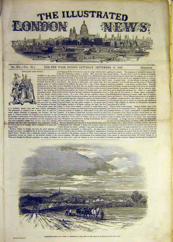 Viejo Original antiguo victoriano impresión 1847Stratford-Upon-Avon paisaje granja caballo arar 327941