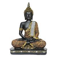 Om Arts Sitting Buddha Idol Statue Showpiece- Orange and Black