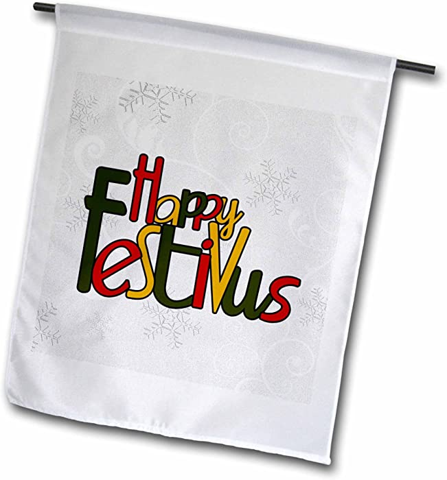 3dRose fl_101842_1 Happy Festivus in Red, Gold and Green with a Frosty Snowflake Background in Silver and White Garden Flag, 12 by 18-Inch