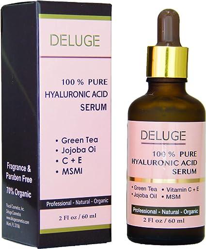 Ácido hialurónico puro DELUGE, suero con vitaminas C-E y té