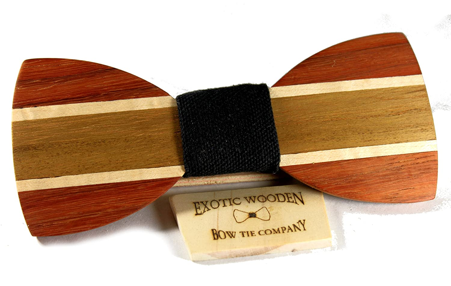 Solid Multi Exotic Wood Bow Tie with Black Fabric Center