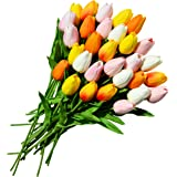 Only Art 30pcs Artificial Multicolor Tulip Flowers with Soft Latex Materials for Home Kitchen Decoration