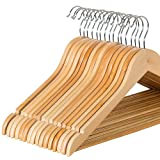 Amazon Price History for:Zober Solid Wood Suit Hangers with Non Slip Bar and Precisely Cut Notches - 360 Degree Swivel Chrome Hook - Natural Finish Super Sturdy and Durable Wooden Hangers - 20 Pack