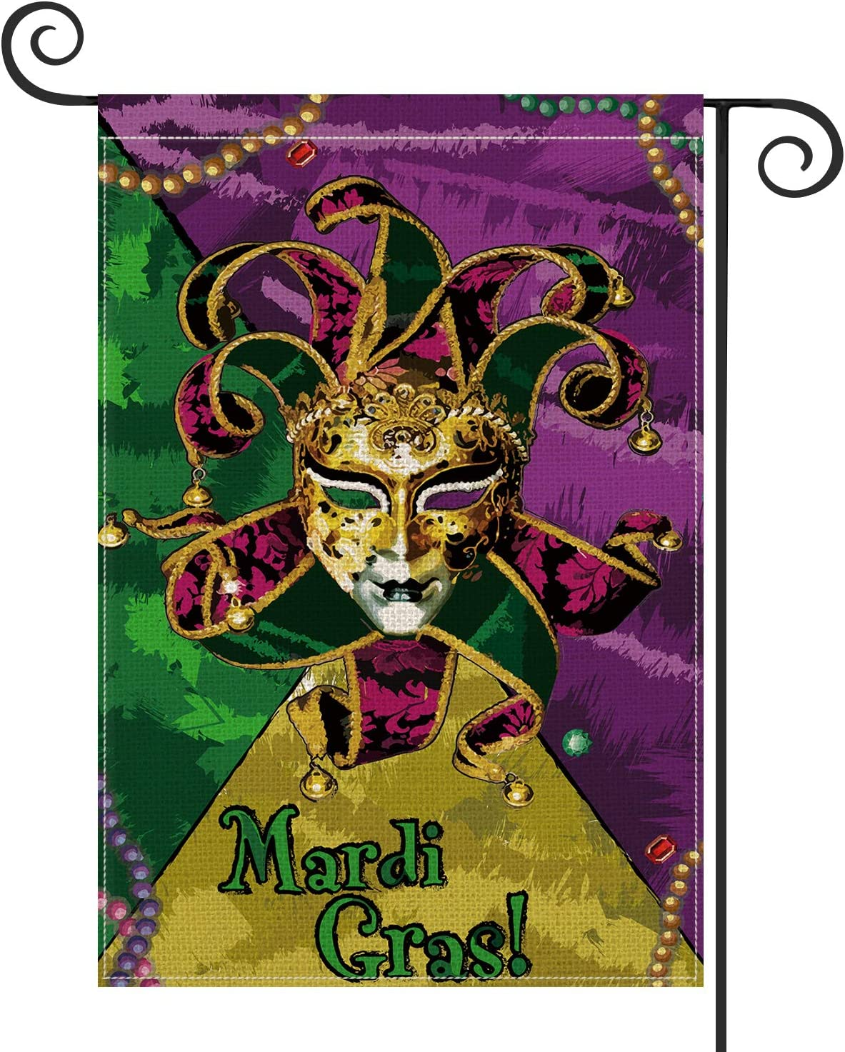 AVOIN Mardi Gras Harlequin Mask Fleur De Lis Double Sided Garden Flag, 12.5 x 18 Inch Spring Decorative House Flag Outdoor Frontdoor Yard Party