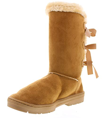 Women's Sandy Faux Suede Mid-Calf Fur Lined Triplet Bow Boot