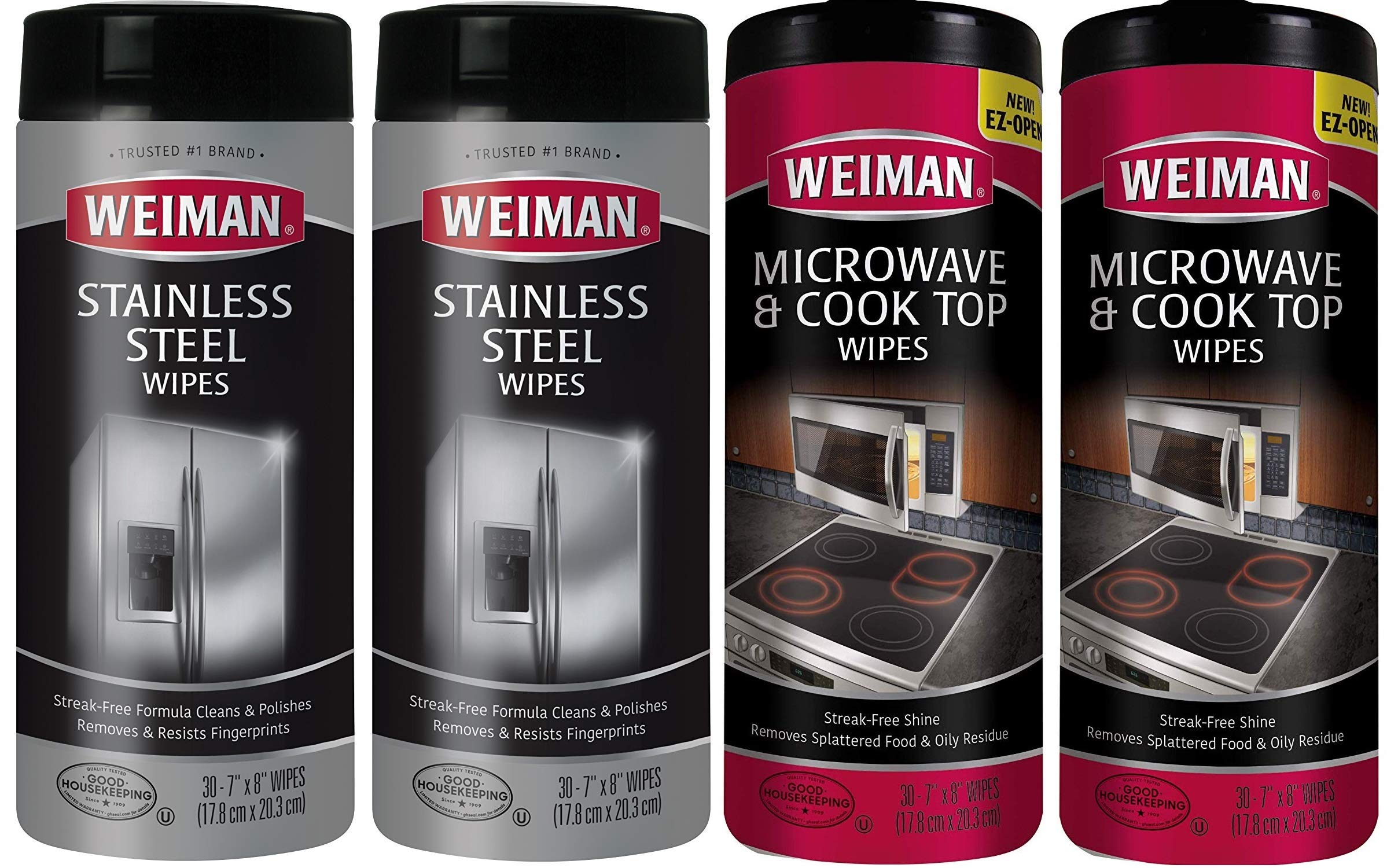 Weiman Microwave & Cook Top Wipes and Stainless Steel Wipes - 4 pack of 30 wipes each by Weiman Wipes