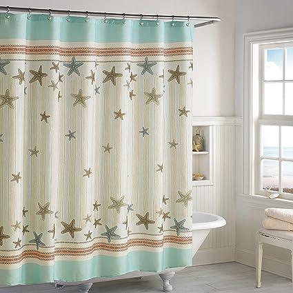 DS BATH Tremiti Starfish Shower CurtainWaterproof Polyester Fabric CurtainsOcean Decorative