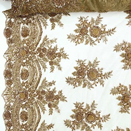 """Bronze Bridal Viburnum floral Lace Sequins Beaded Scallop Fabric Dress 52/"""" BTY"""