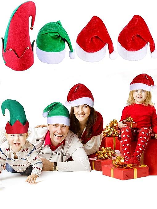 SATINIOR 4 Pezzi Cappello di Babbo Natale Adulto Cappelli di Elfo Natalizio  in Peluche per Natale f040e5cad9ea