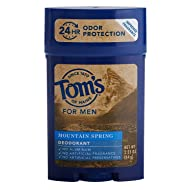 Tom's of Maine Men's Long Lasting Deodorant, Mountain Spring, 2.25 Ounce (Pack of 4)
