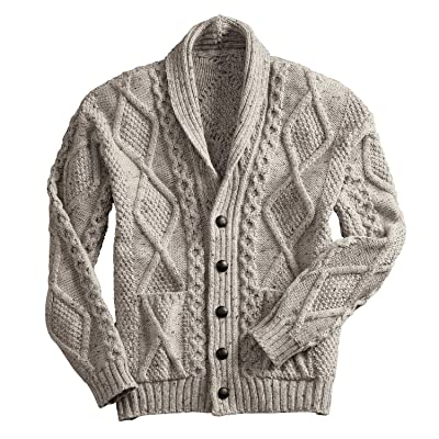 100% Merino Wool Aran Cardigan With Leather Buttons, Charcoal at Men's Clothing store