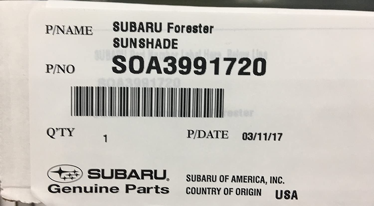 2014-2019 Forester Genuine Subaru Sunshade SOA3991720 Factory OEM NEW custom fit