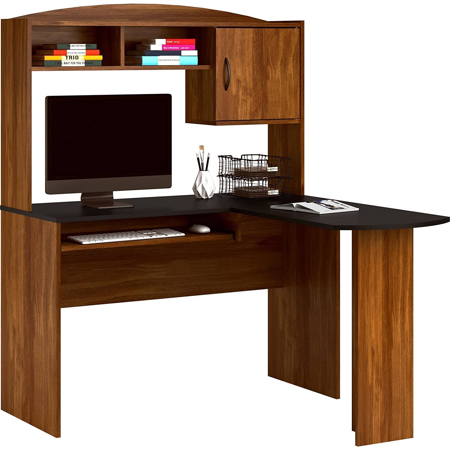 Amazon.com: Corner L Shaped Wood Office Desk With Hutch In Black/Brown:  Kitchen U0026 Dining