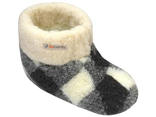 buy online 59de4 521b3 BeComfy Warme Hausschuhe Damen Herren Hüttenschuhe aus Schafwolle
