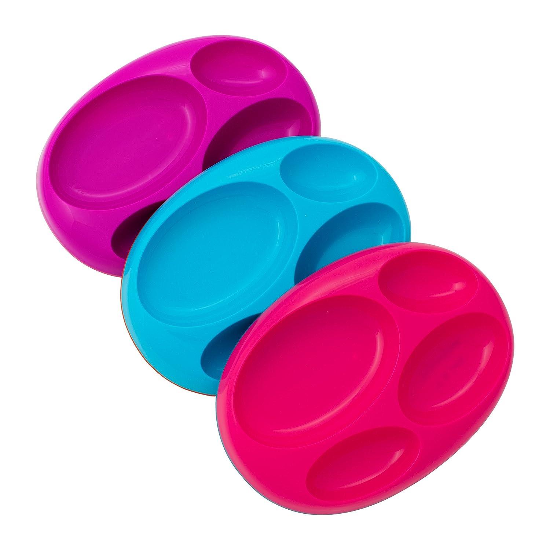 Boon PLATTER Edgeless Nonskid Divided Plate, Purple/Blue/pink B11004
