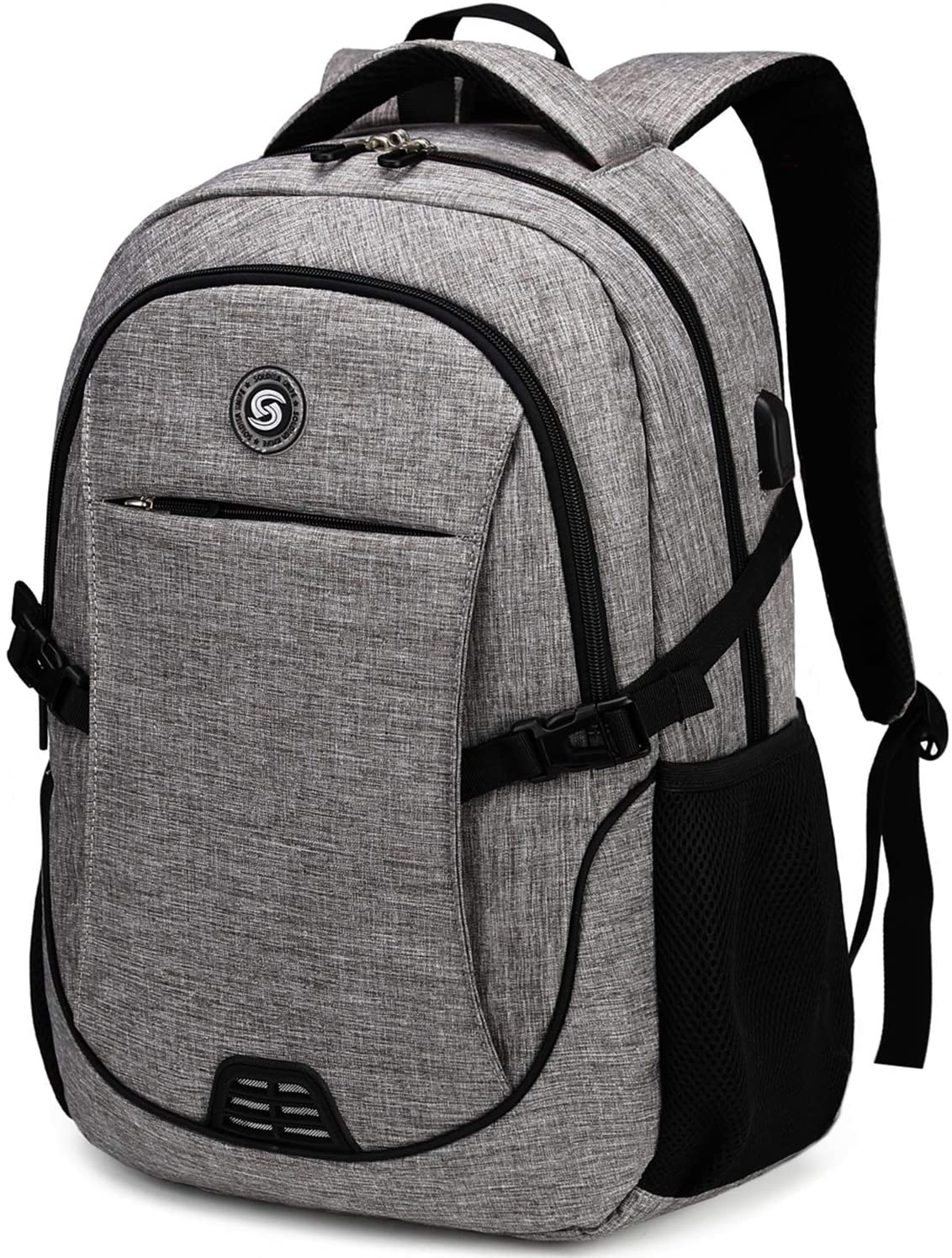 Gray and black anti-theft backpack on white background