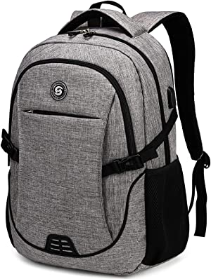 SHRRADOO Durable Waterproof Anti Theft Laptop Backpack Travel Backpacks Bookbag with usb Charging Port for Women & Men School College Students Backpack Fits 15.6 Inch Laptop Grey