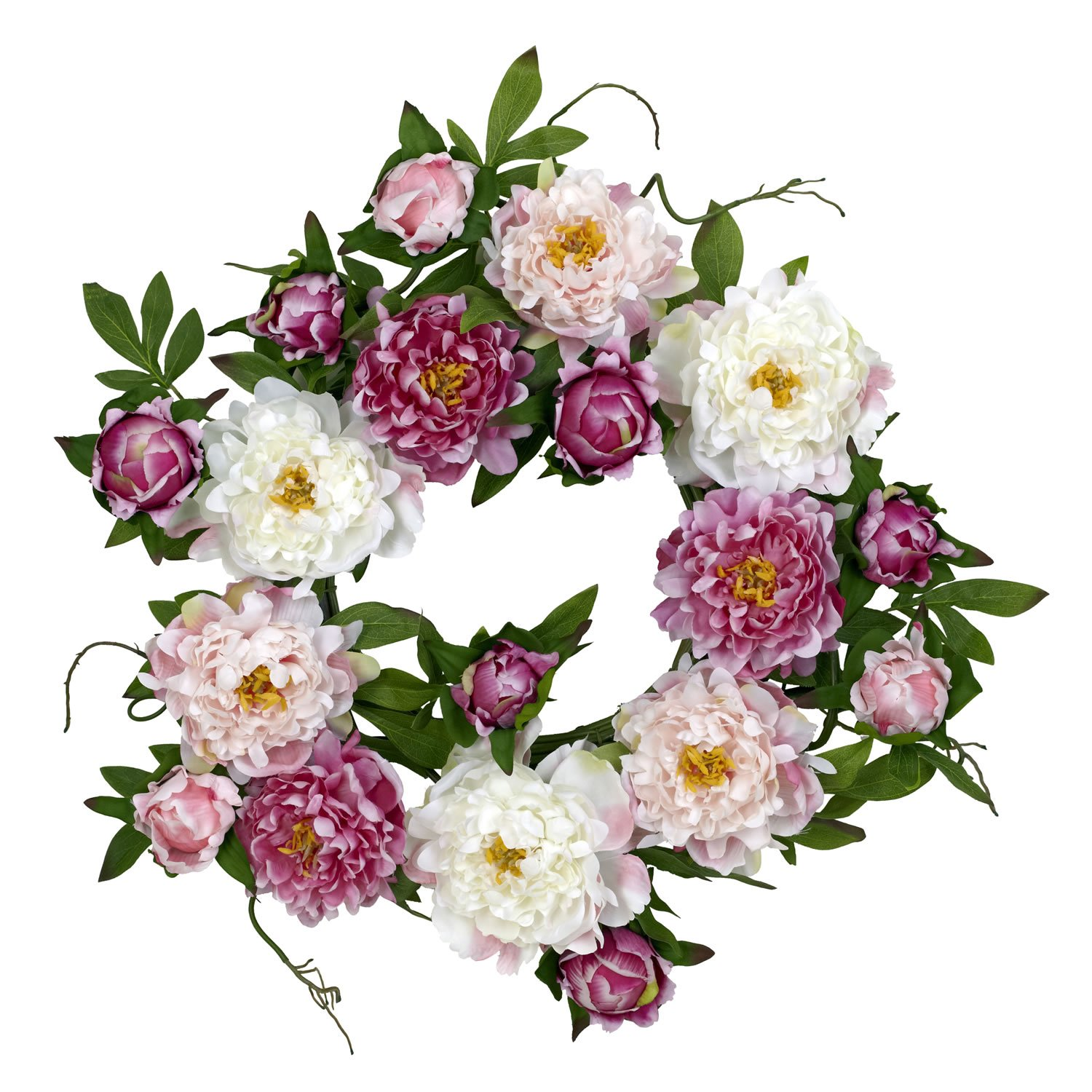 Amazon Nearly Natural 4788 Peony Wreath 22 Inch Pink Home