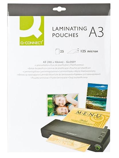 Amazon.com: Q CONNECT LAMINATING POUCH A3 125MIC P25: Arts ...