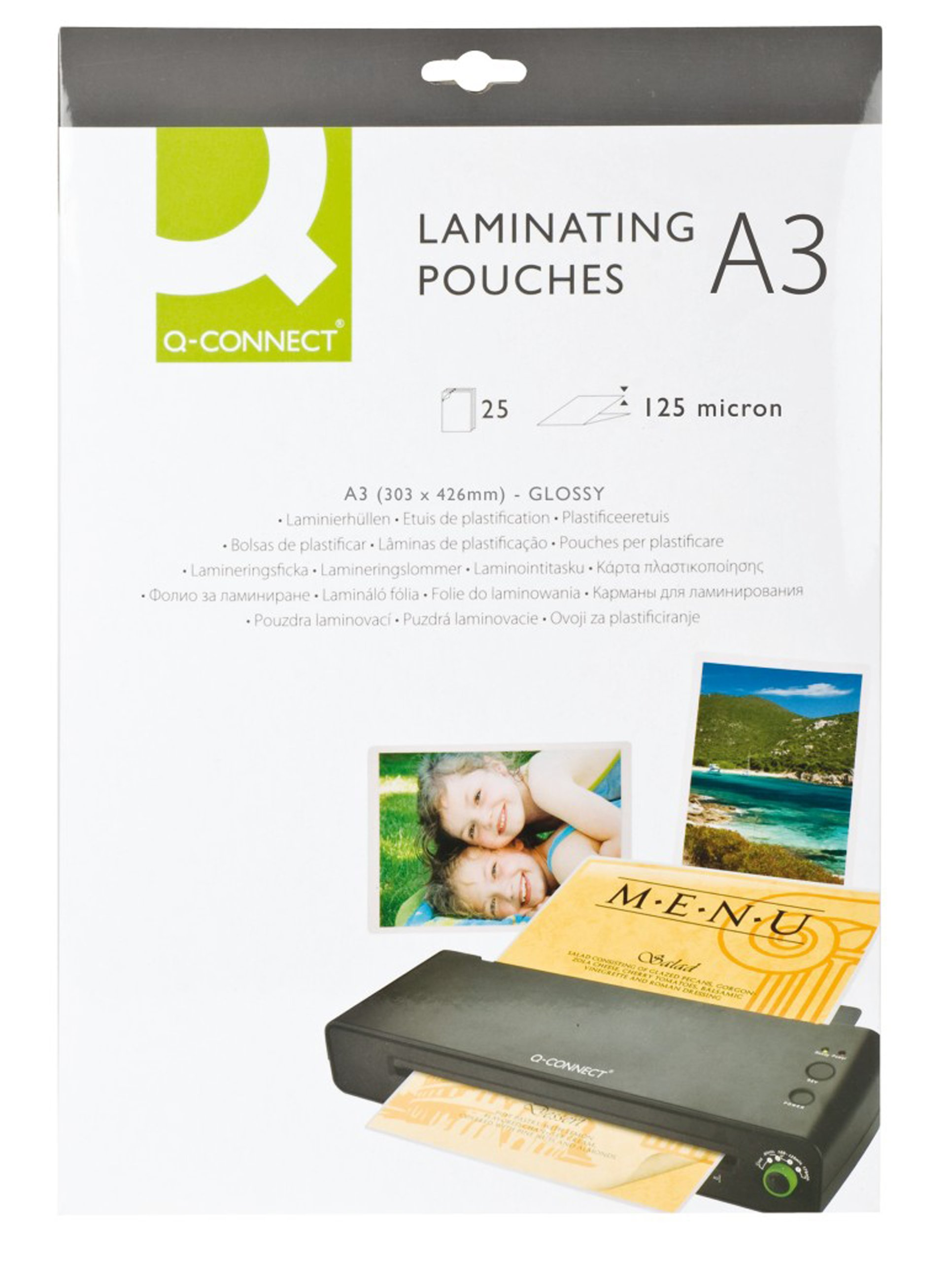 Q CONNECT LAMINATING POUCH A3 125MIC P25