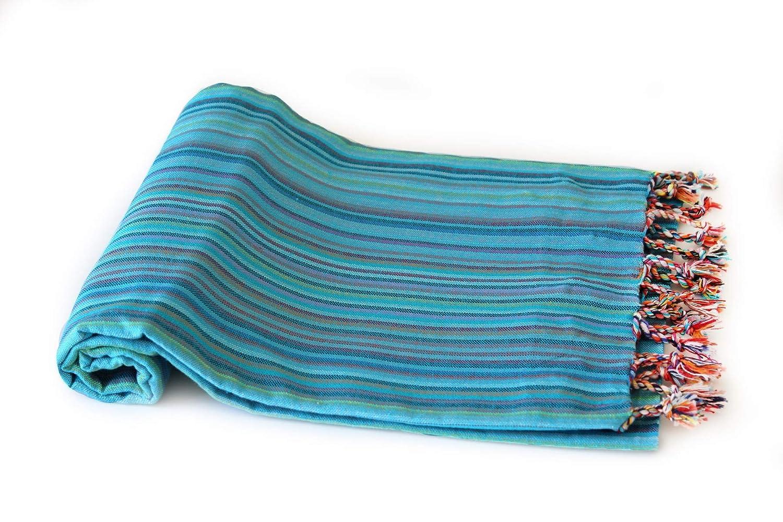 mit Fransen ca Stola bunt gestreift T/ürkis Pestemal Evliya Style My Hamam Saunatuch 100 x 180 cm