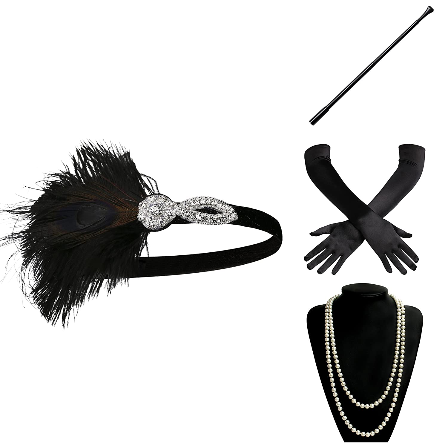 ArtiDeco 1920s Flapper Accessories 20s Gatsby Costume Accessories Set Roaring 20s Flapper Accessories