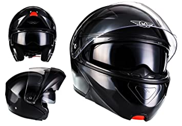 MOTO F19 Gloss Black · Cruiser Urban Flip-Up Modular-Helmet Moto Casco da