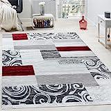 Tappeto Di Design Per Salotto Arredamento Interno Tappeto Mélange Rosso Grigio, Dimensione:160x220 cm