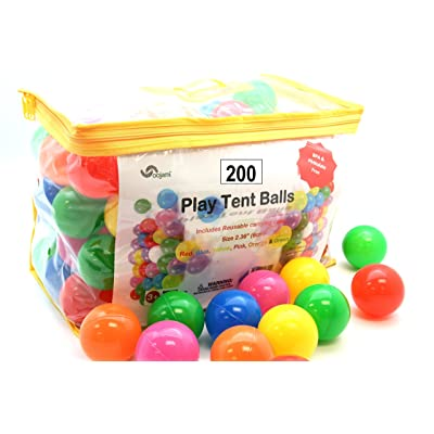 Pack of 200 Phthalate Free BPA Free Crush Proof Plastic Ball, Pit Balls - 6 Bright Colors in Reusable and Durable Storage Bag with Zipper by Oojami: Toys & Games