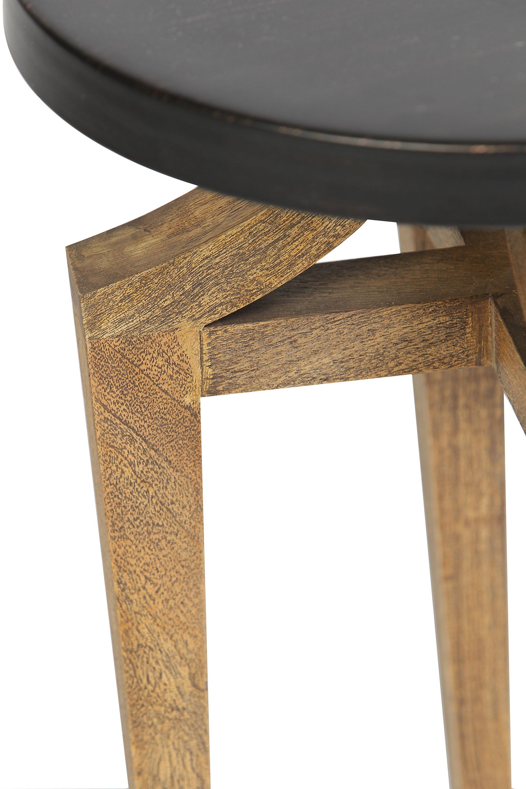 Modern Round Accent Table Reclaimed Wood