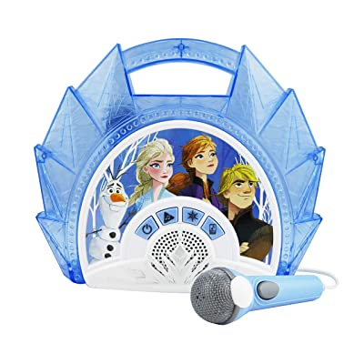 Frozen 2 Sing Along Boombox with Microphone, Built in Music, Flashing Lights, Real Working Mic for Kids Karaoke Machine, Connects Mp3 Player Aux in Audio Device: Toys & Games