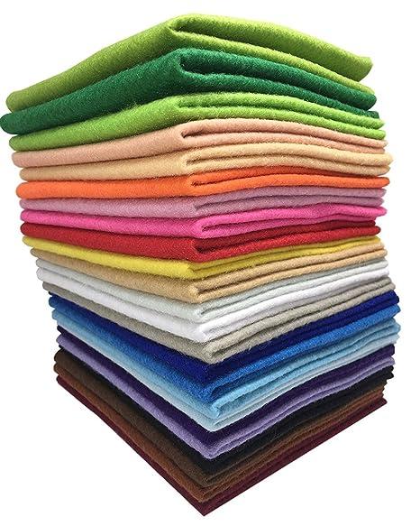 24 Hojas de Fieltro No Tejido Tela Fieltro Suave de Acrílico para Manualidades Patchwork Costura DIY Craft Trabajo 30*30cm Espesor 1,4mm Colores ...