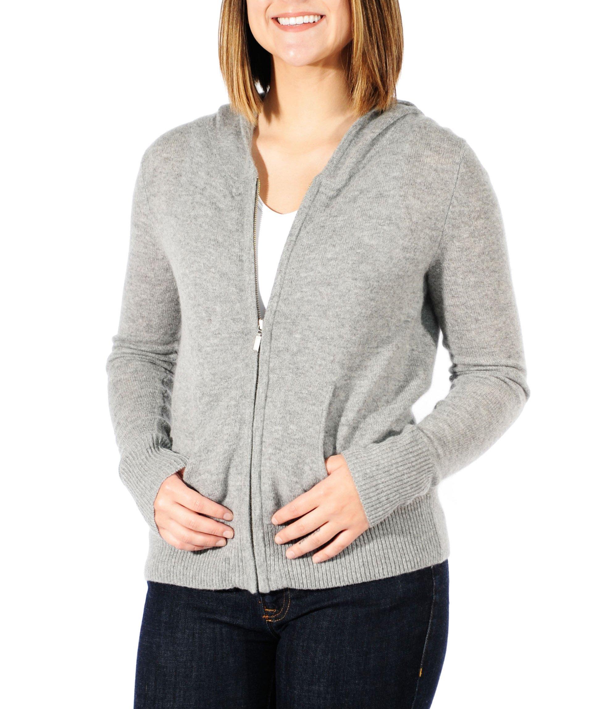Gigi Reaume 100% Cashmere Zip Front Cardigan Hoodie Sweater (Medium, Grey Heather)