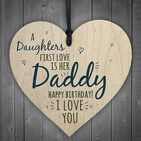 RED OCEAN First Love Daddy Dad Wooden Heart Happy Birthday Card Gift Son Daughter Baby Thank You Amazoncouk Kitchen Home
