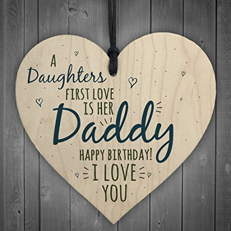 RED OCEAN First Love Daddy Dad Wooden Heart Happy Birthday Card Gift Son Daughter Baby Thank