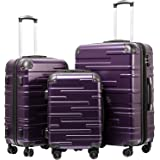 """Coolife Luggage Expandable(only 28"""") Suitcase 3 Piece Set with TSA Lock Spinner 20in24in28in (purple)"""