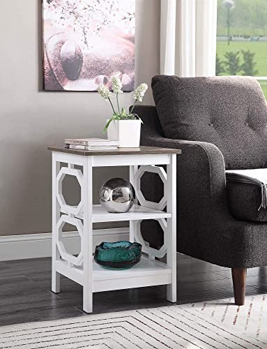 Convenience Concepts Omega End Table, Driftwood Top White Frame