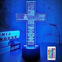 Jezus Cross 3D Nachtlampje, Christus Optische Illusie Lichten 16 Kleuren Verandering met Afstandsbediening, De Lord…