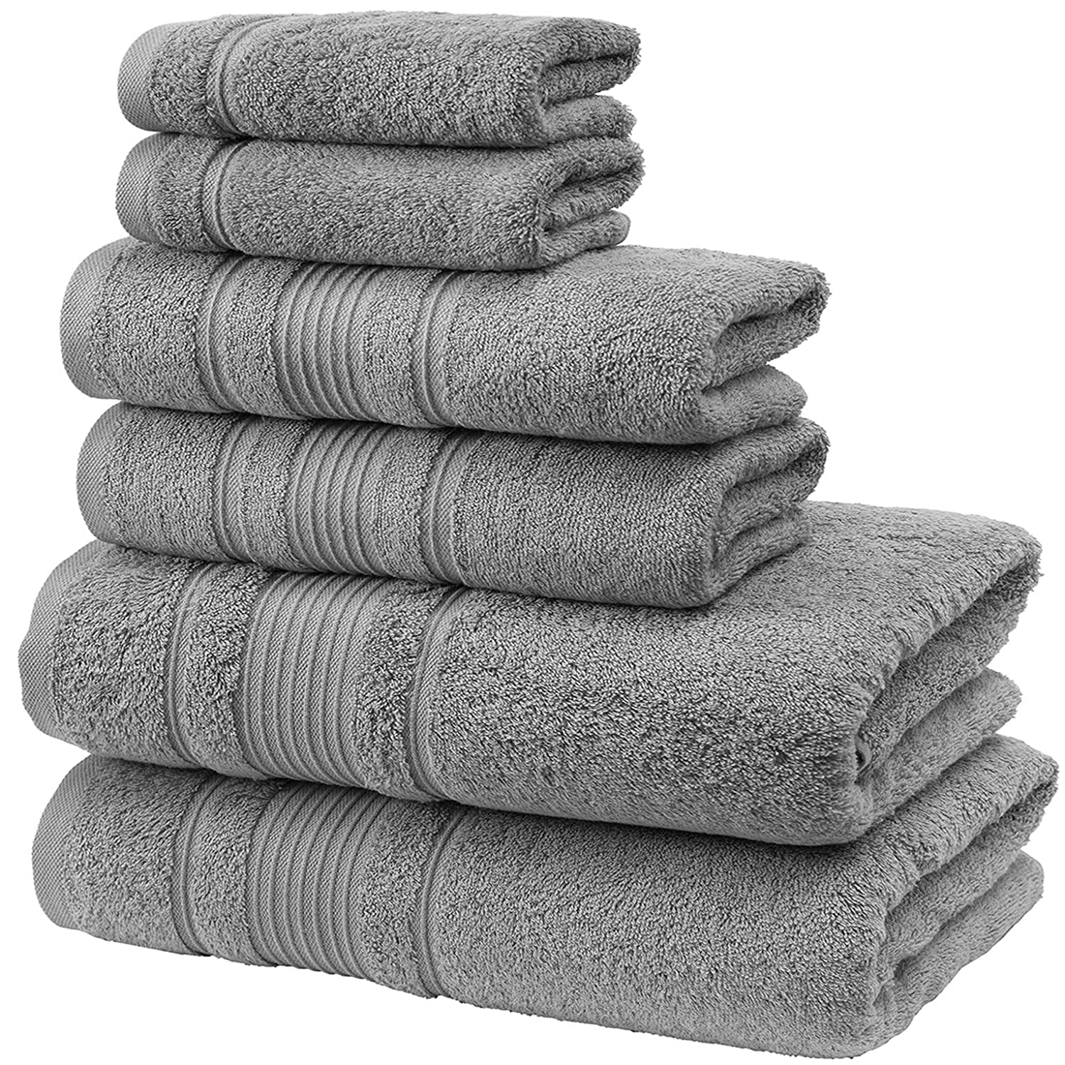 Qute Home Spa & Hotel Towels 6 Piece Towel Set, 2 Bath Towels, 2 Hand Towels, and 2 Washcloths - Grey
