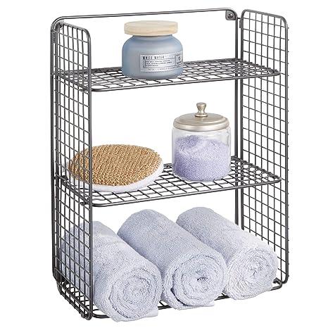 mDesign Repisa de pared plegable con 3 niveles – Baldas para baño de alambre metálico –