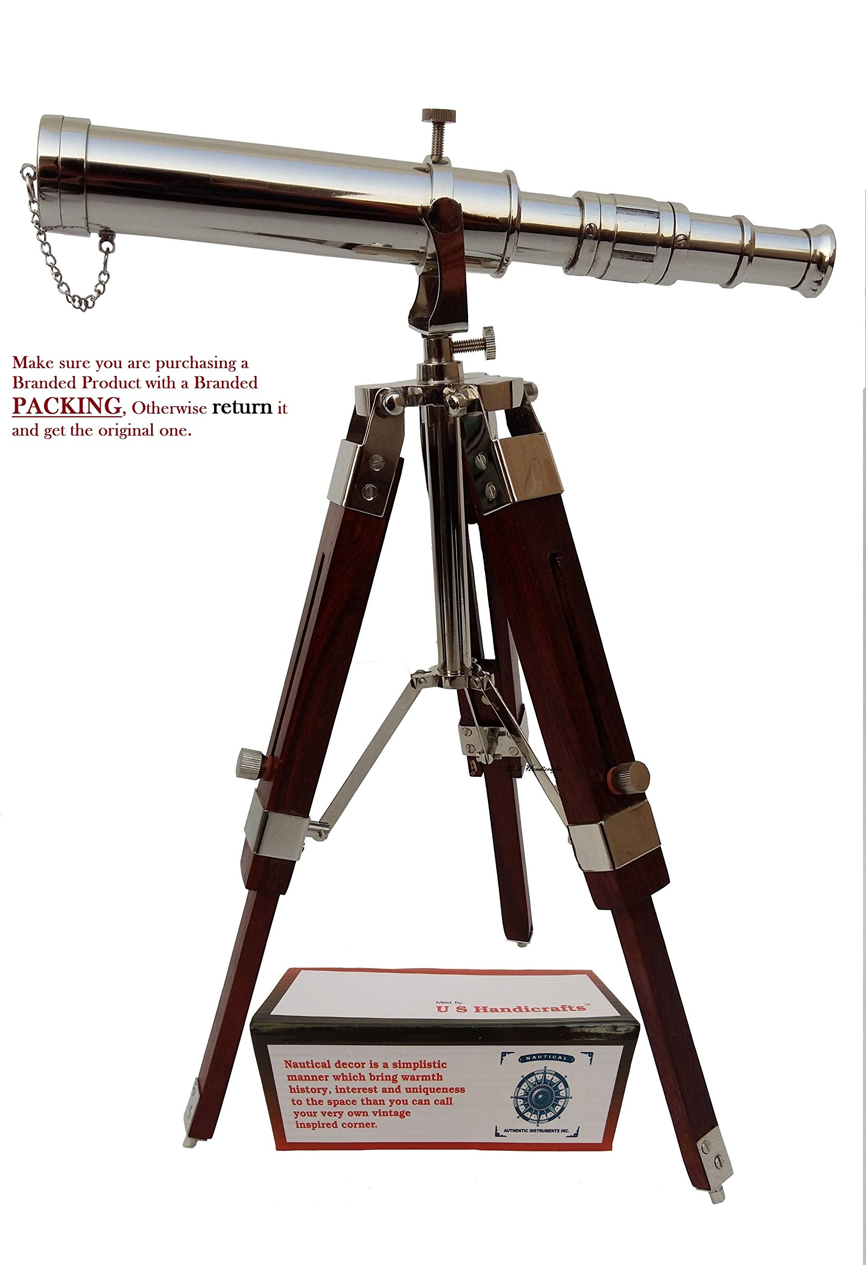 Vintage Brass NICKLE Telescope on Tripod Stand / Chrome Desktop Telescope for Home Decor & Table accessory Nautical Spyglass Telescope for Navy and Outdoor Adventures..............