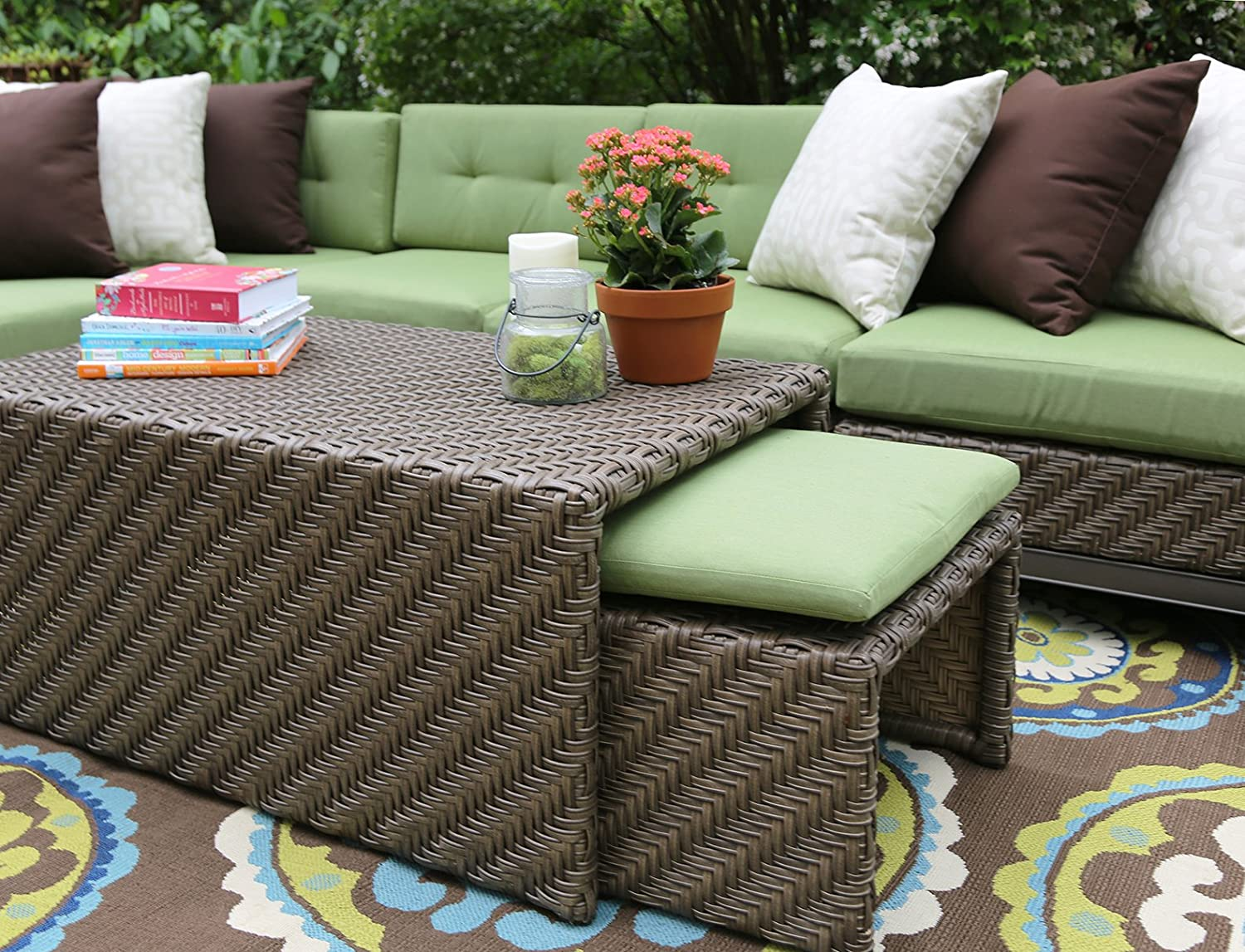 Amazon.com  AE Outdoor H&ton 8 Piece Sectional with Sunbrella Fabric  Garden u0026 Outdoor : sunbrella sectional - Sectionals, Sofas & Couches