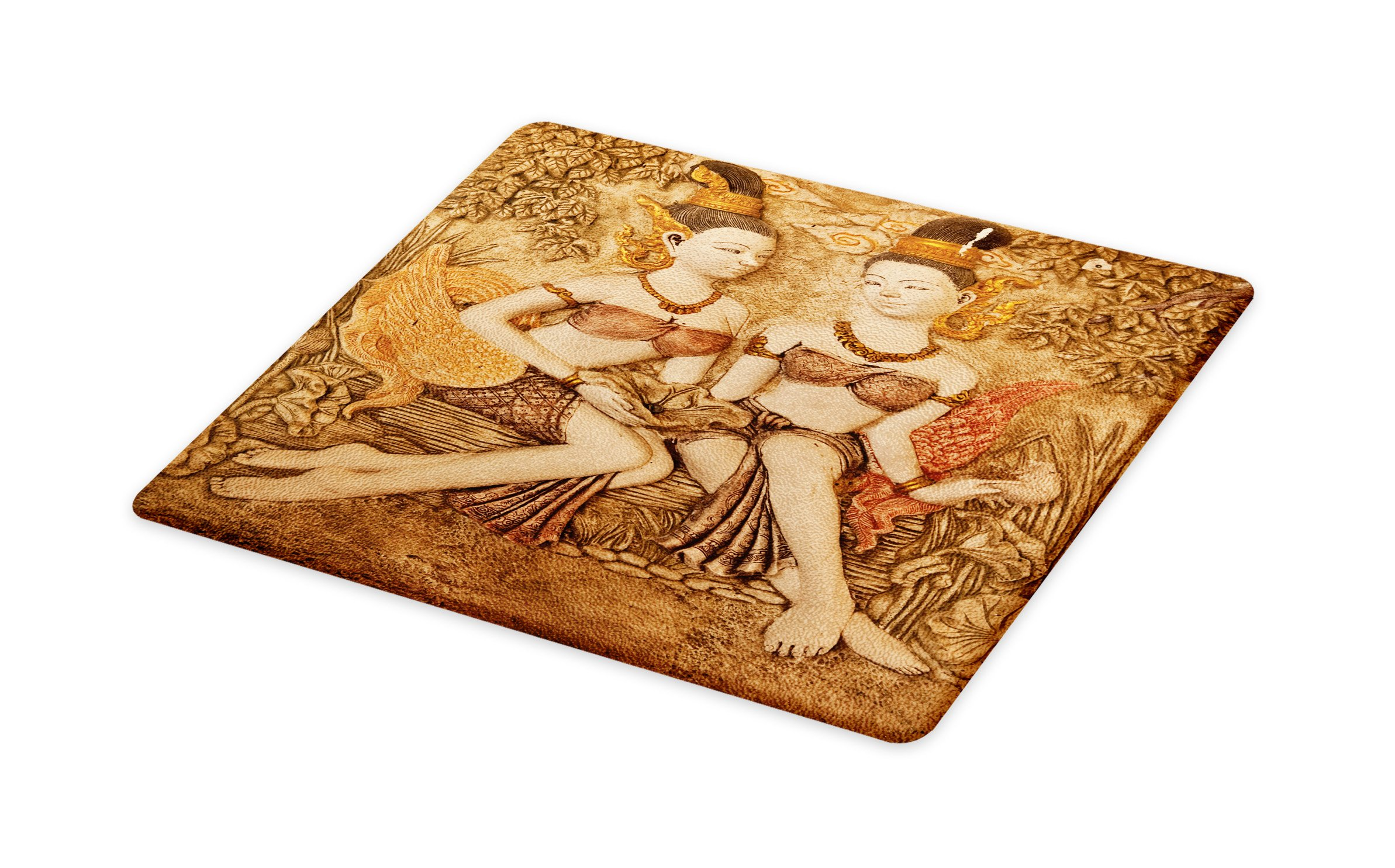 Lunarable Sculptures Cutting Board, Native Thai Style Molding Art Asian Traditional Attire Temple Culture, Decorative Tempered Glass Cutting and Serving Board, Small Size, Beige Brown Gold